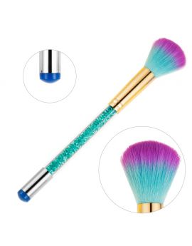 Double Ended Brush - Glitter powder/ Dust Brush & Silicone Stamper Transfer Tool - BLUE