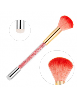 Double Ended Brush - Glitter powder/ Dust Brush & Silicone Stamper Transfer Tool - CORAL