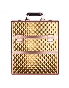 Two-piece Diamond 3D cosmetic box with lattice & Rose Gold fittings