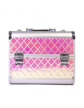 Iridescent Pink/Gold beauty, makeup case M