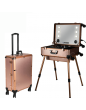 Professional Make-up Studio Case With LED Lights, MP3, Mirror & Telescoping Legs